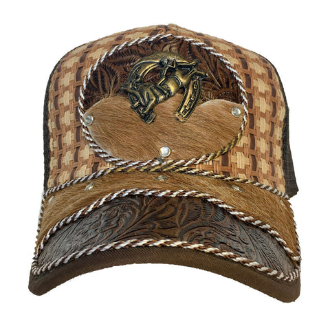 Brown Trucker Hat with Bull Riding Pendant and Genuine Cowhide