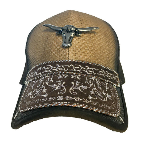 Brown Trucker Hat with Bullhorn Pendant and Western Design