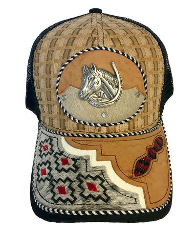 Black and Tan Trucker Hat with Horse Head Pendant and Western Design