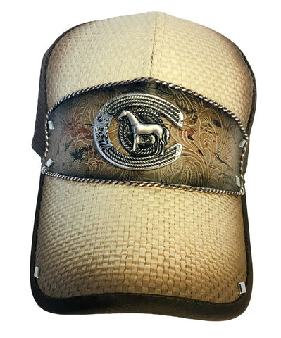 Brown and Tan Trucker Hat with Horse Body Pendant and Leather Western Design