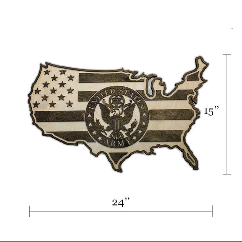 U.S. ARMY - USA - American Flag Wood Wall Art