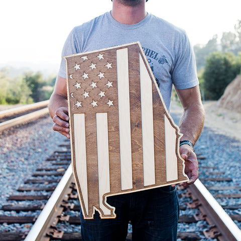 Alabama American Flag Inversed Two-Tone Wood Wall Art