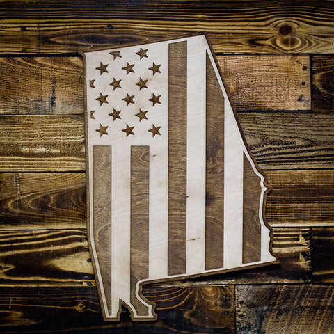 Alabama American Flag Two-Tone Wood Wall Art