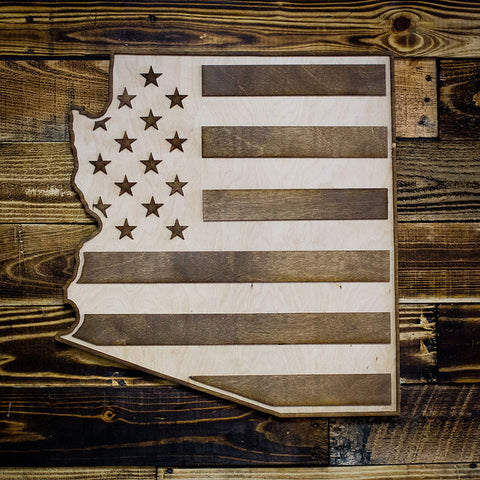 Arizona American Flag Two-Tone Wood Wall Art