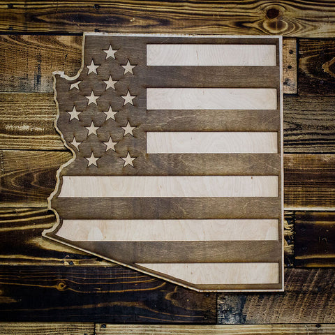 Arizona American Flag Inversed Two-Tone Wood Wall Art