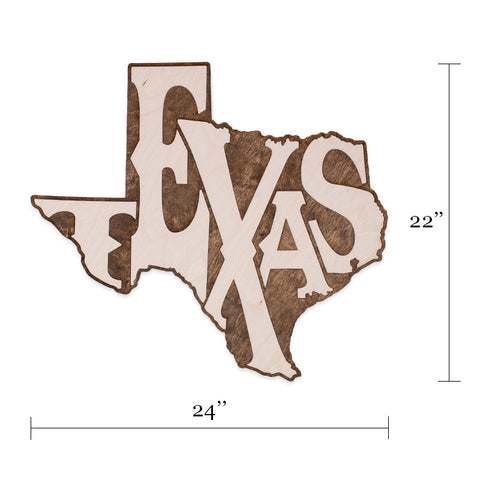 Big Texas Two-Tone Wood Wall Art