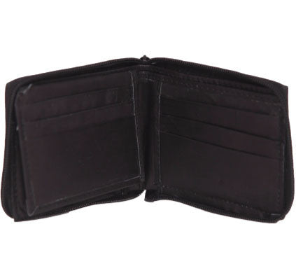Black Leather Bi-Fold Zipper Wallet