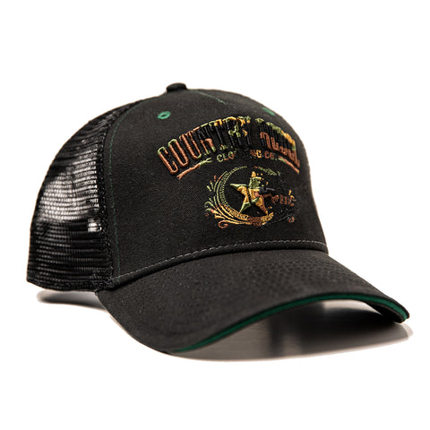 Country Rebel Snapback - Black/Black with Camo Logo