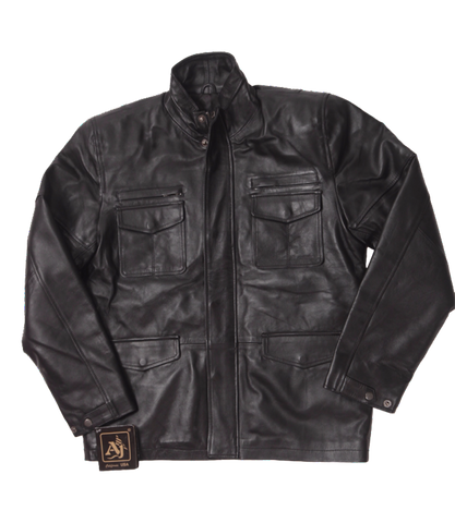 Black Leather Commander Jacket