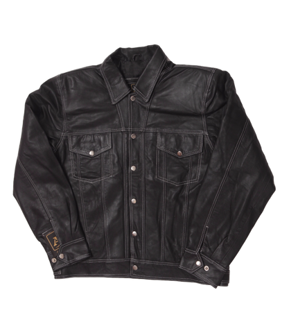 Black Leather Jacket White Stitch