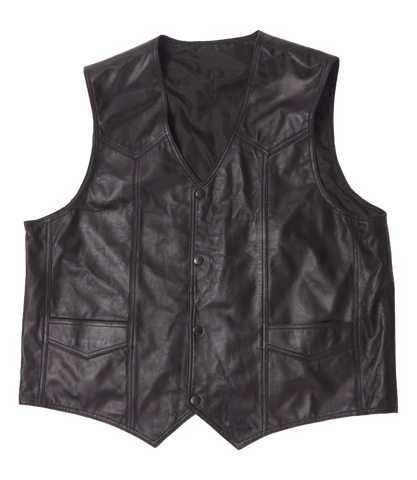Western Lamb Black Leather Vest