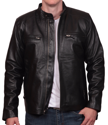 Black Leather Roundneck Jacket