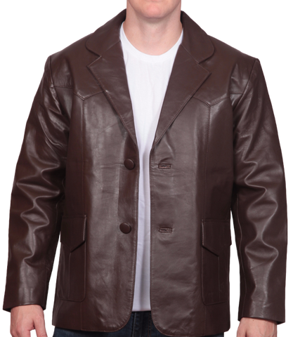 Brown Leather Western Blazer