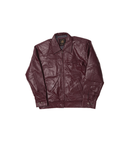 Burgundy Leather Short Jacket