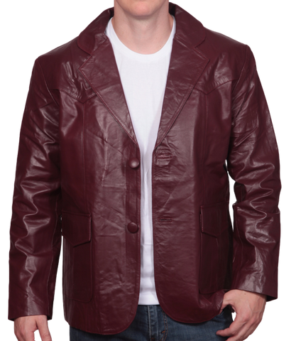 Burgundy Leather Western Blazer