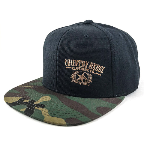 Country Rebel Embroidered Black/Camo-Snapback