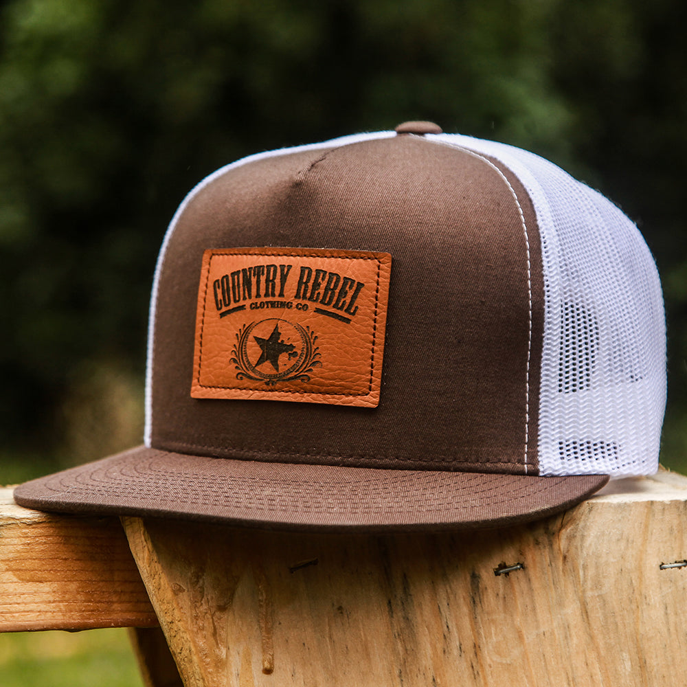 5a282b41220e80 Country Rebel Leather Patch Brown/White-Snapback | Country Rebel