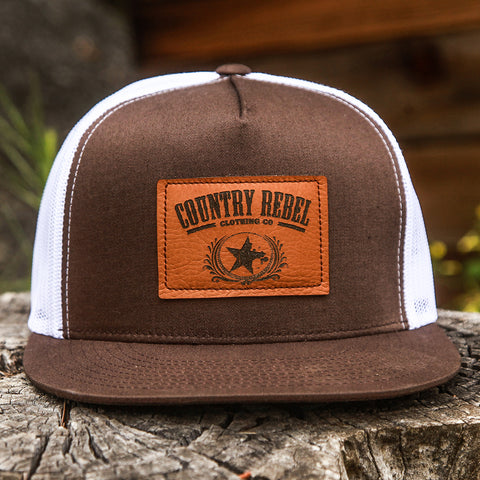 Country Rebel Leather Patch Brown/White-Snapback