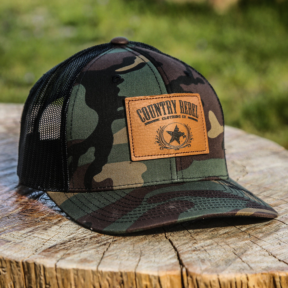 74d402bd633 Country Rebel Leather Patch Camo Black-Snapback