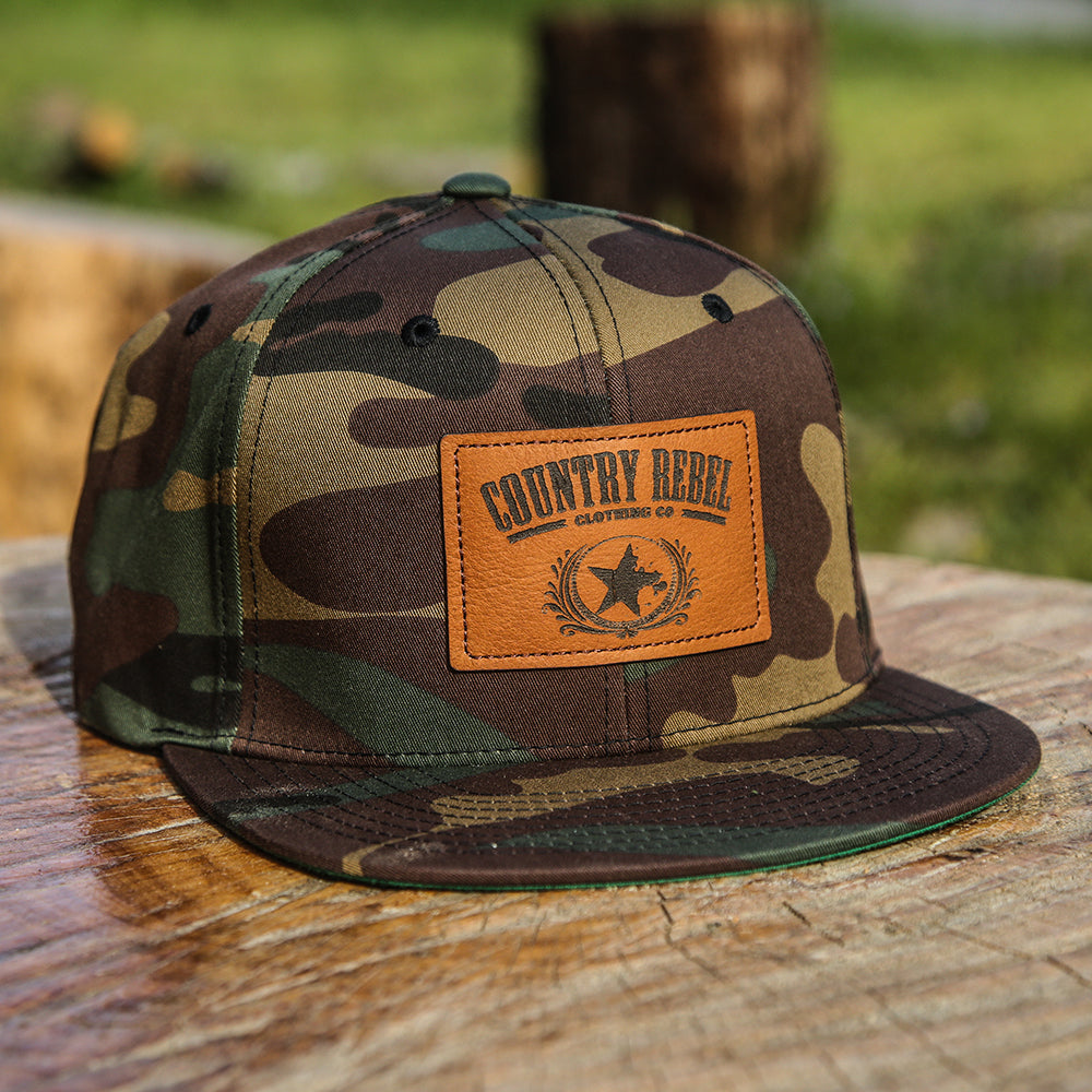 a9a13b097bc Country Rebel Leather Patch Camo-Snapback