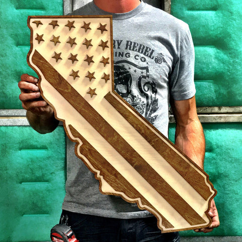 California American Flag Two-Tone Wood Wall Art