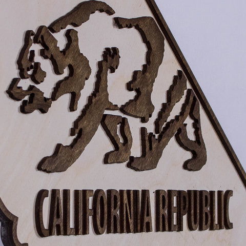 California State Flag Two-Tone Wood Wall Art