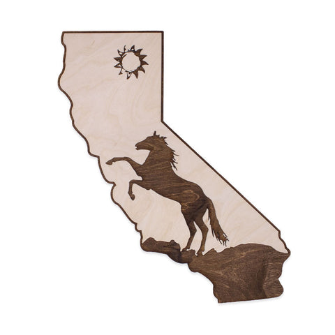 California Mustang Two-Tone Wood Wall Art
