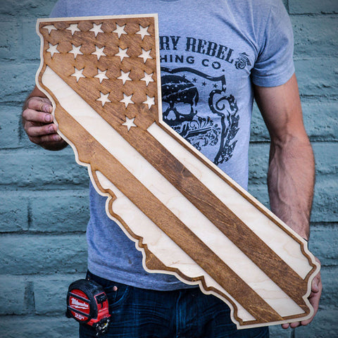 California American Flag Inversed Two-Tone Wood Wall Art