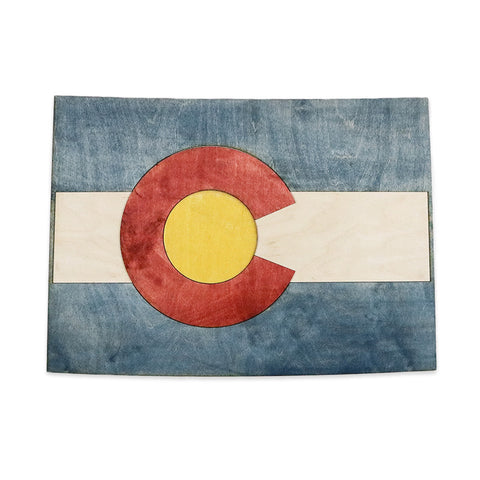Colorado State Flag Two-Tone Wood Wall Art