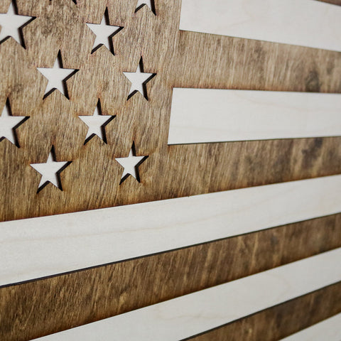 Colorado American Flag Inversed Two-Tone Wood Wall Art