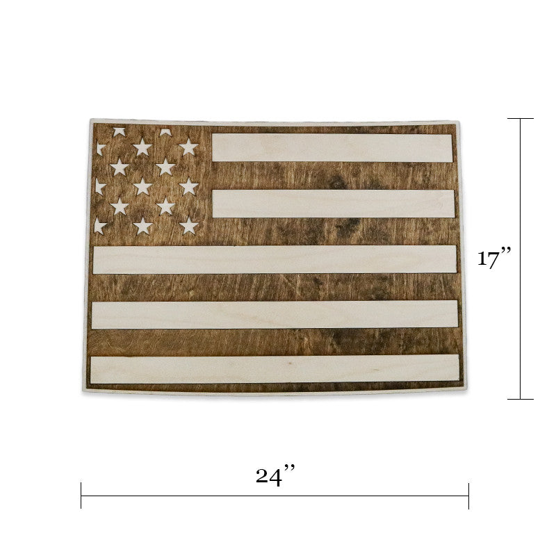 Colorado american flag inversed two tone wood wall art American flag wood wall art