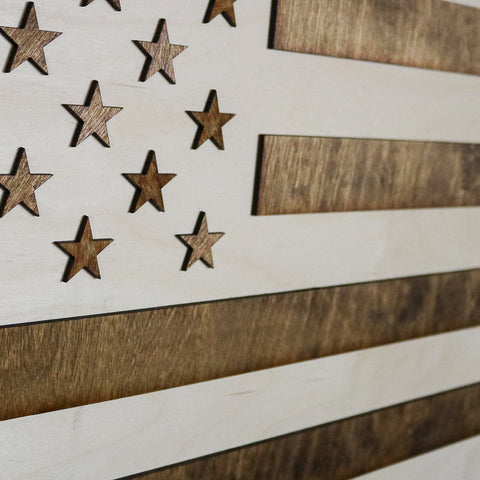 Colorado American Flag Two-Tone Wood Wall Art