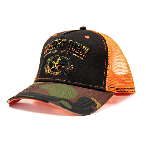 Country Rebel Hunters Edition Snapback - Black/Orange with Camo Logo