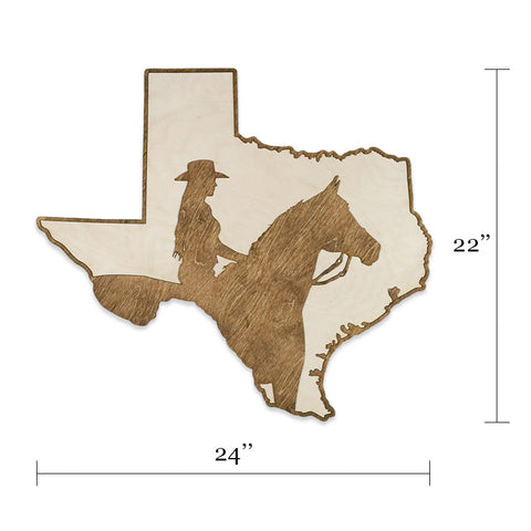 Texas Cowgirl Two-Tone Wood Wall Art