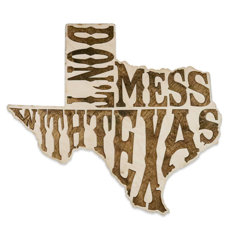 Don't Mess With Texas Inverse Two-Tone Wood Wall Art