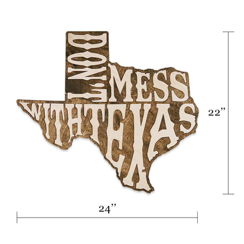 Don't Mess With Texas Two-Tone Wood Wall Art