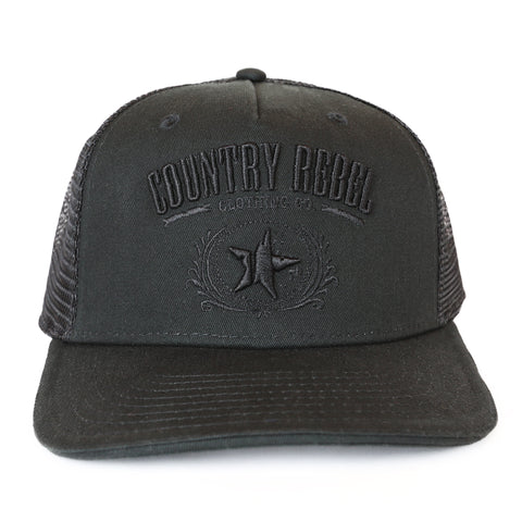 Country Rebel Snapback Black/Black - Black Logo