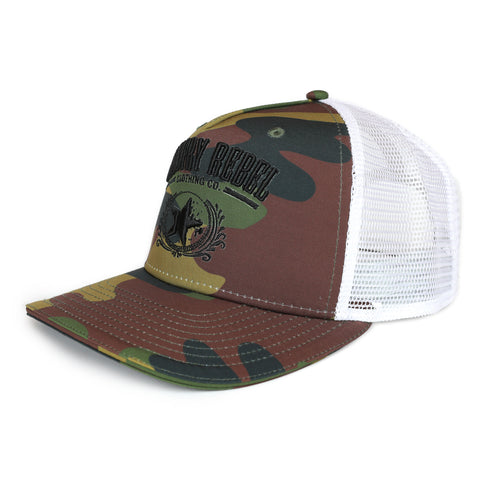 Country Rebel Snapback Camo/White - Black Logo