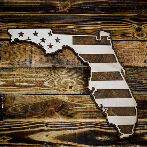 Florida American Flag Two-Tone Wood Wall Art