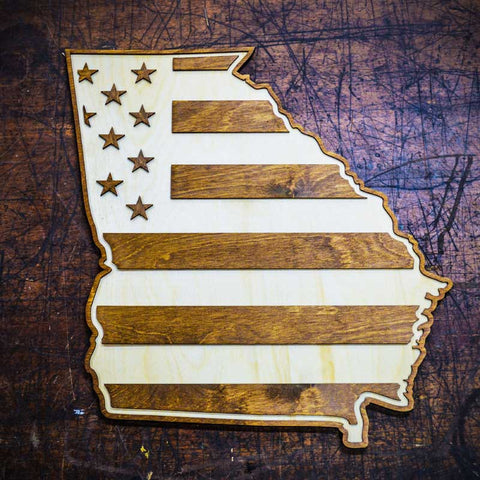 Georgia American Flag Two-Tone Wood Wall Art