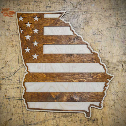 Georgia American Flag Inversed Two-Tone Wood Wall Art