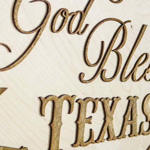 God Bless Texas Two-Tone Wood Wall Art