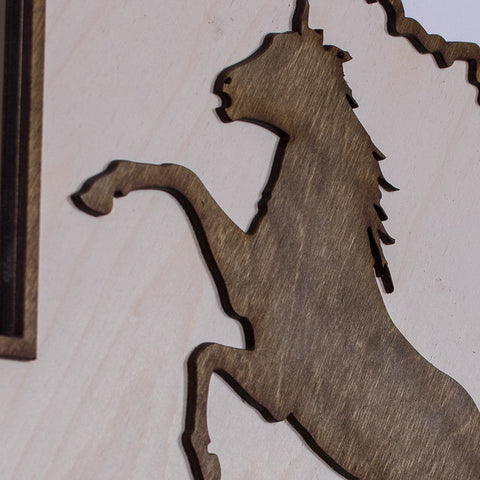 Texas Mustang Two-Tone Wood Wall Art