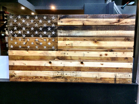 Rustic American Flag Two-Tone Wood Wall Art