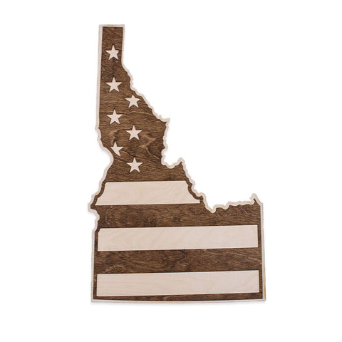Idaho American Flag Inversed Two-Tone Wood Wall Art