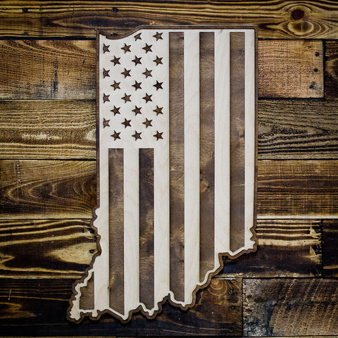 Indiana American Flag Two-Tone Wood Wall Art