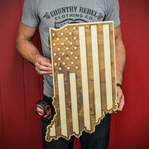 Indiana American Flag Inversed Two-Tone Wood Wall Art