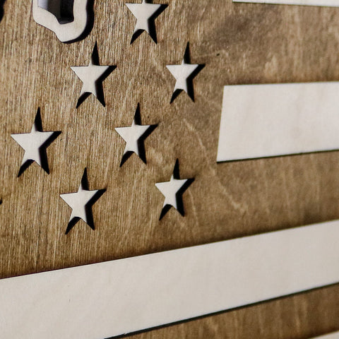 Kentucky American Flag Inversed Two-Tone Wood Wall Art
