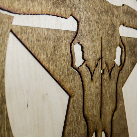 Longhorn Lonestar Two-Tone Wood Wall Art