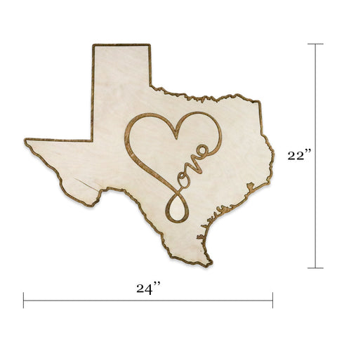 Texas Love Two-Tone Wood Wall Art